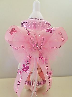 Baby Bottle Piggy Bank (Baby Shower Pink Butterfly Centerpiece Fillable Bottle Large 14