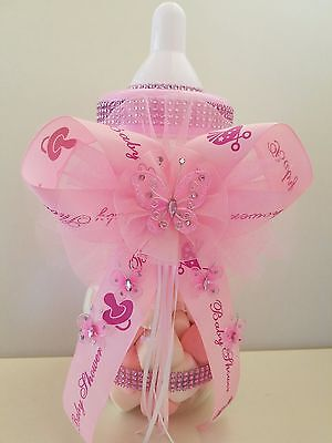 Baby Shower Pink Butterfly Centerpiece Fillable Bottle Large 14