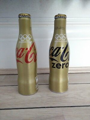 Rio 2017 brasil olympic gold coca cola aluminium bottles pair full, UK Shipping