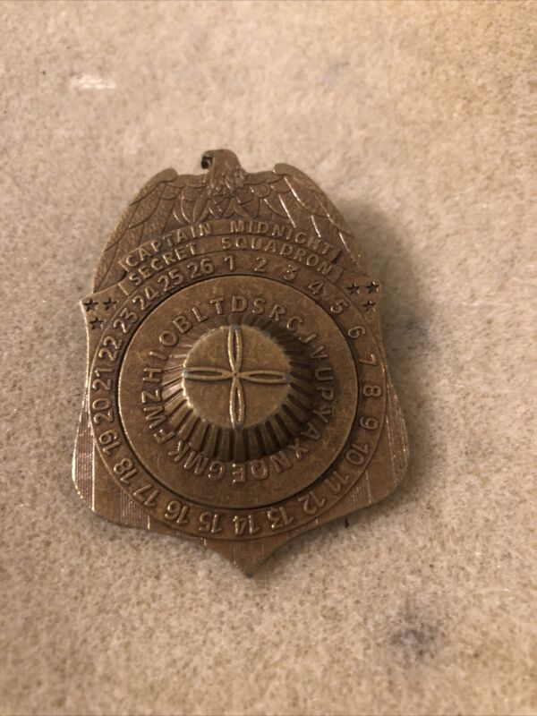 1941 Ovaltine Captain Midnight Code-O-Graph Secret Squadron Decoder Badge