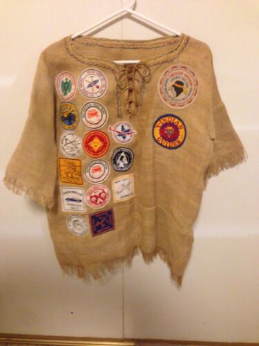 Vintage Indian Guides  Shirt  gunny sack Handmade fringes patches