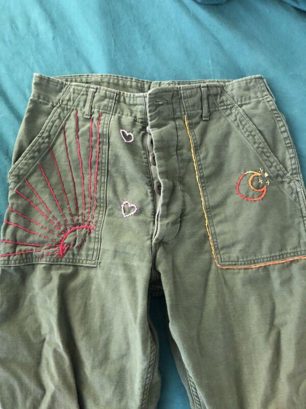 Vtg military Pants  sz 32x 29 army Vietnam era Glenn Berry 1972 70s Embroidered