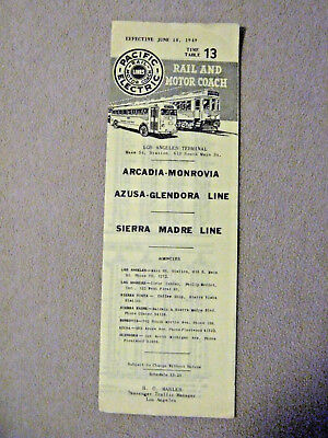 Pacific Electric Pocket Time Table #13 - Arcadia-Monrovia - 6/10/49