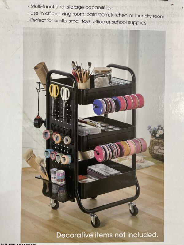 New Metal Rolling Cart Craft Organizer Black