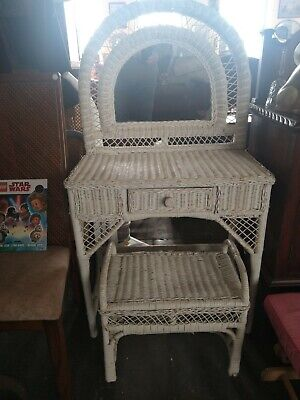 Mid Century Wicker Mirrored Dressing Table With Stool