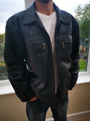 Mens 90s Vintage Real Leather Jacket Small Medium Black Retro Heavyweight