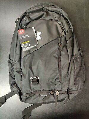 Under Armour Hustle 4.0 Backpack Black Silver NWT $55 MSRP