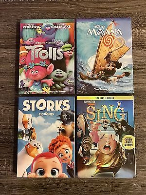Dvd Set Collection   Moana   Sing   Trolls   Storks  Fast Shipping