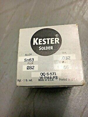 Kester Dia .032 Core 66 Flux 282 Alloy Sn63 Lead Solder 1 Lb Roll