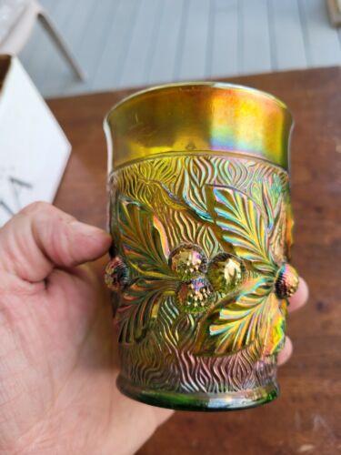 Wow Green Northwood Carnival Glass Acorn Burrs Signed Tumbler