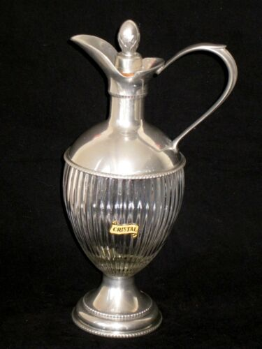 """BEAUTIFUL 11.5"""" VINTAGE ETAIN Du MANOIR FRENCH CRYSTAL & PEWTER DECANTER PITCHER"""