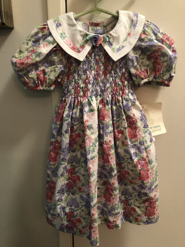 NWT Vintage Polly Flinders Pink Floral Smocked Dress w/Collar, 4T