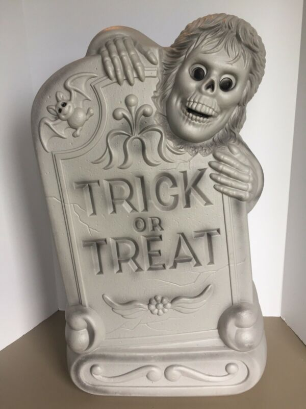 """Vtg Tombstone Blow Mold 28"""" Lighted Halloween Gravestone Zombie Graveyard A"""