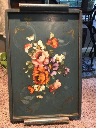 Shabby Vintage Hand Painted Muted Antique Tole Flowers Wood Display Serving Tray