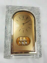 Seiko Glass Crystal Quartz Mantle Shelf Desk Clock Gold Japan QQZ127S Vintage