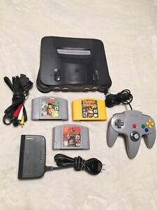 Nintendo 64 console + av tv /power cable 1 controller 3 games