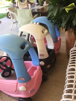 Little Tikes Cozy Coupes 2x Princess Pink Cars 1x Black Police Car