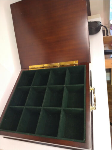 Bombay Solid Mahogany Wood Wooden Tea Box Velvet Lined Brass Handles Organizer