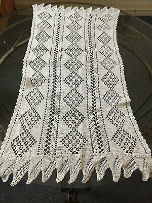 VINTAGE White Handmade Crocheted Cotton Lace Table Runner 110X46 cm