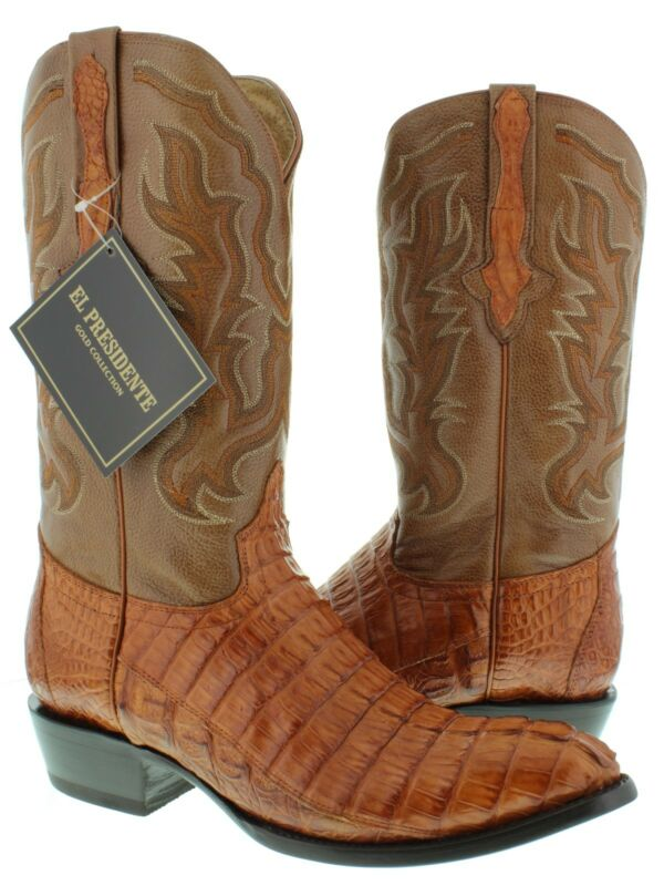 Mens, Cognac, Genuine, Crocodile, Skin, Western, Leather, Cowboy, Boots, Tail, Cut, Round
