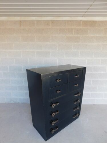 Vintage Hollywood Regency Black Lacquer Dorothy Draper Style Tall Chest