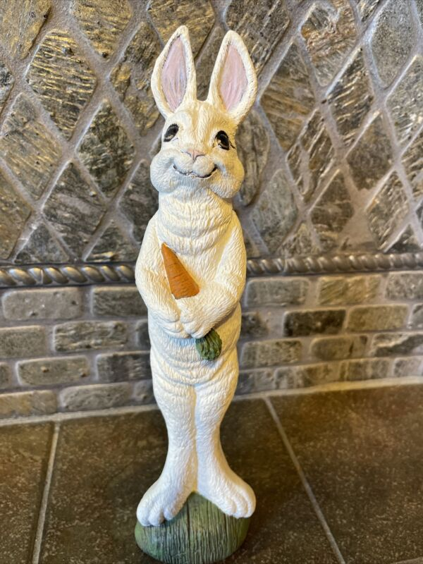 Vintage Style Ceramic Tall Bunny Holding A Carrot Easter Decor-4681