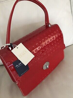 NWT~ARCADIA~Italy~RED Patent Leather-SHOULDER BAG/HANDBAG-Med