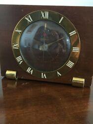Vintage Art Deco Telechron Wooden Table Clock Running