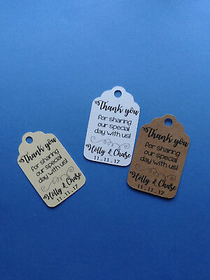 20 personalized WEDDING favor tags Thank you for sharing our special day with us - Wedding Favor Tags