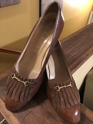 Vintage Gucci Women Brown Leather Tassel Shoes Pumps ~ Size 36 1/2 ~ Pre-Owned