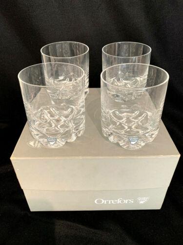 Orrefors Erik Double Old Fashioned Glasses Set of (4) Original Box