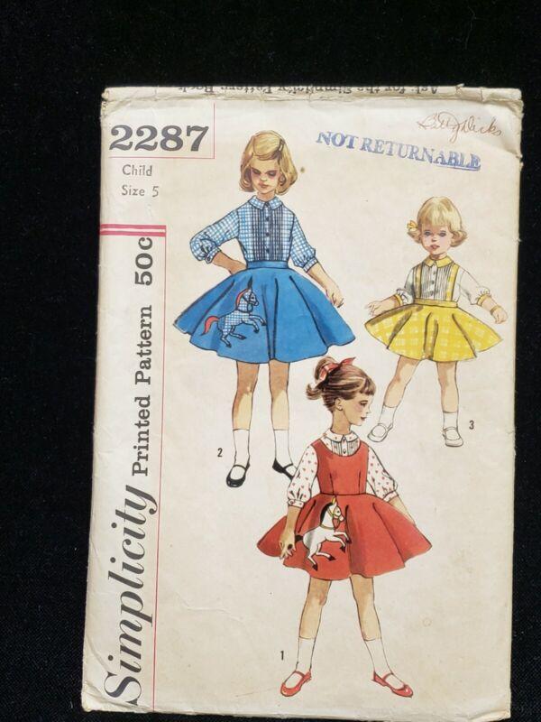Vintage ORIGINAL Little Girl Dress 2 pc Pattern Classic 1950s Era Size 5 Sewing