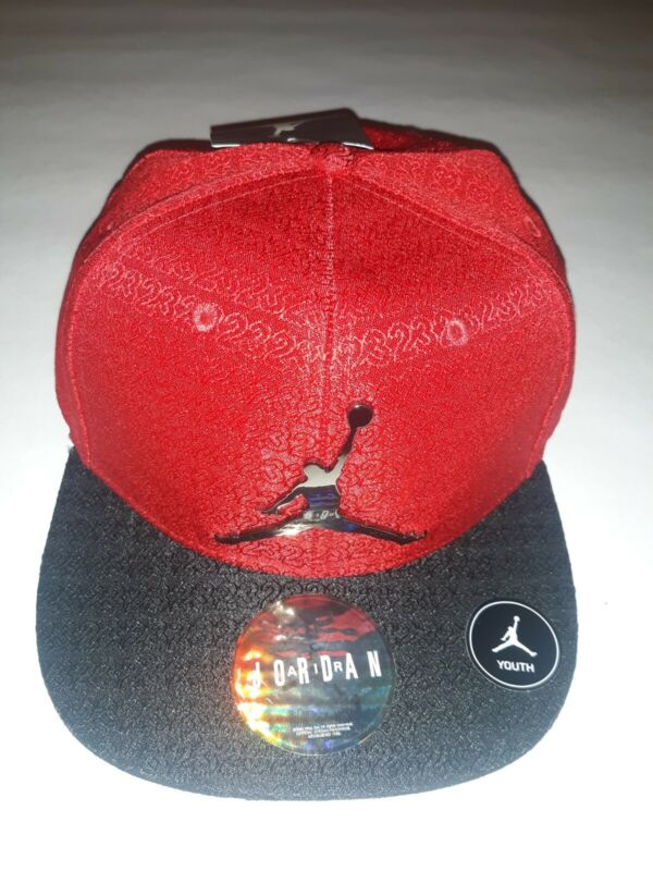 NIKE AIR JORDAN GYM RED AND BLACK BASEBALL YOUTH CAP HAT WITH EMBLEM & SNAPBACK