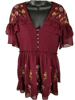 Zara Trafaluc Boho Dress Womens S Burgundy Floral Embroidered Short Sleeve