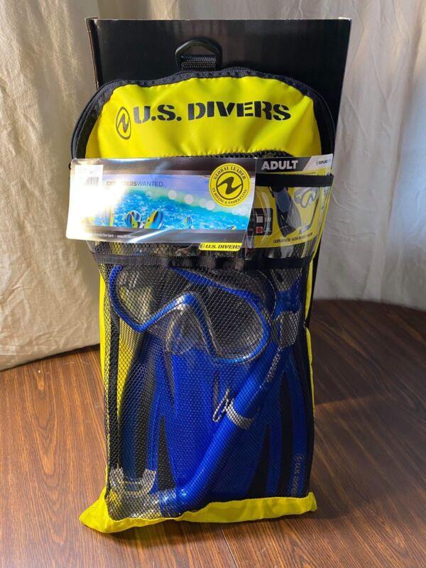 US Divers Explore Adult Caspian Snorkeling Set, Blue, L/XL, Fins, Mask, Snorkel