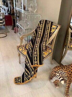 """Custom Made Large Black -gold Versace Velvet Throw 55""""/55"""" Upholstery Fabrics"""