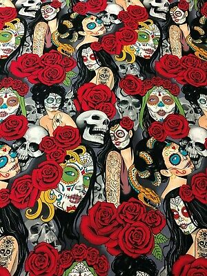 Halloween Pin Up Girl Tattoos (Alexander Henry Gothic Nocturna Tattoo Pin Up Girls Day of Dead Rose Fabric)