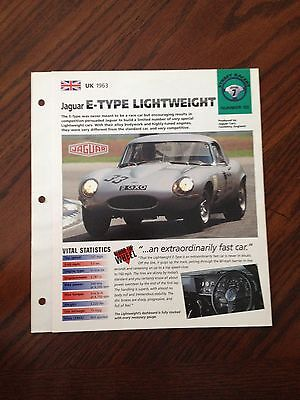 UK 1963 Jaguar E-Type Lightweight Hot Cars SP Group 7 # 50 Spec Sheet Brochure