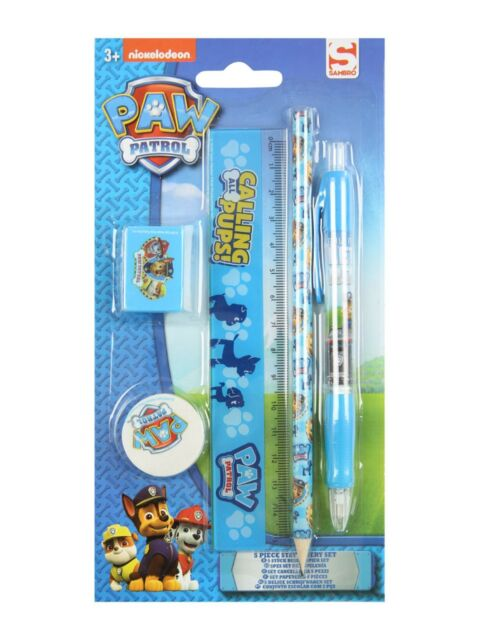 Paw Patrol Kids 5 Piece Stationery Set Pen Pencil Rubber Craft Chase Marshal New