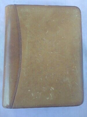 Franklin Covey Classic Vintage Brown Zip Planner 10 X 8 Genuine Leather Usa