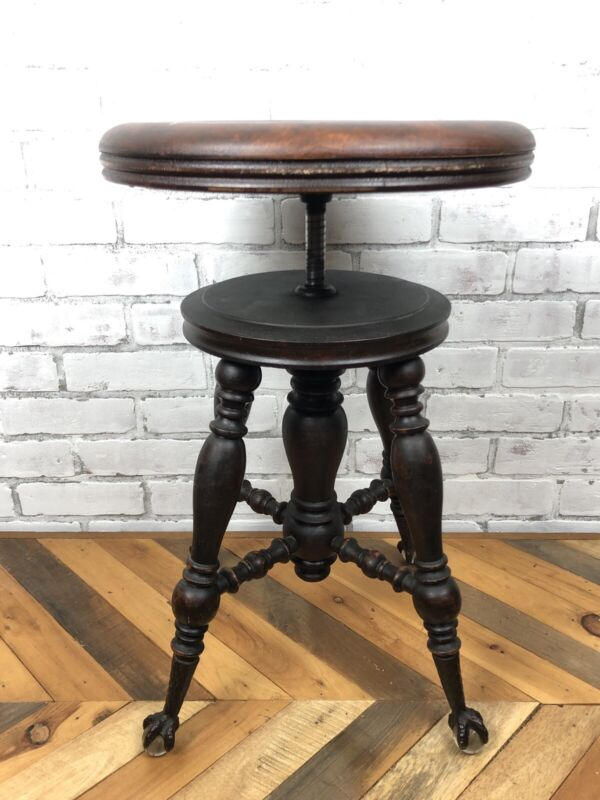 Antique 1800s Holtzman Clawfoot Adjustable Piano Stool Glass Ball Feet