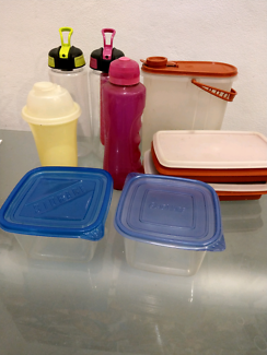 Variety of reusable plastic storagecontainers and plastic bottles