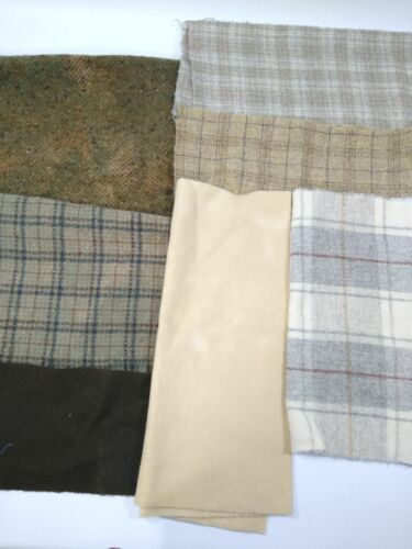 lot FELTED WOOL FABRIC penny rug hooking applique hand dyed tan neutrals plaid
