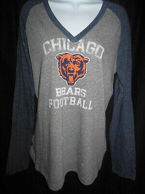 Chicago Bears Women's NFL Team Apparel  Stone Wash Design Long Sleeve Shirt Chicago Bears Stone