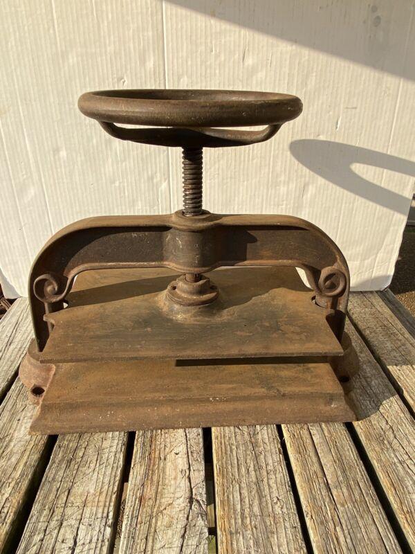 "Cast Iron Book Press Binding Hand Wheel Binder 68 LBS! Top Deck 15"" X 9 5/8"""