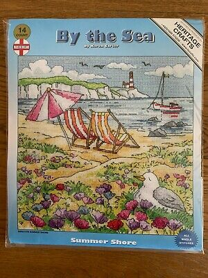 Heritage Crafts Cross Stitch Kit Deck Chairs Summer Shore RRP £31.45 BRAND NEW