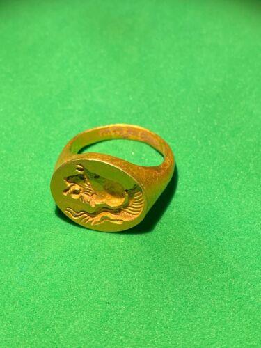 Ancient old Antique Greek Gold Signet Ring