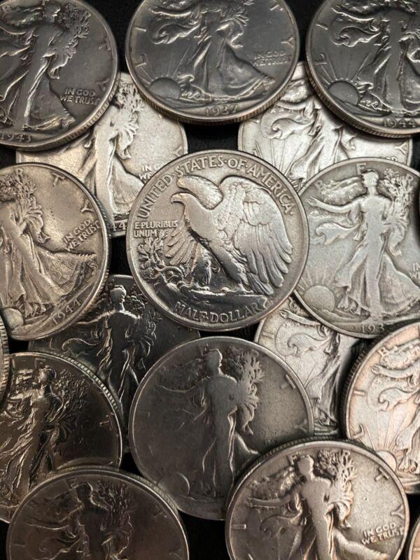 Walking Liberty 90% Silver Half Dollar Coins
