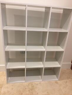 White cube storage shelves