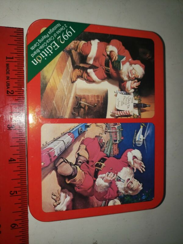 Nostalgic 1992 Coca Cola Santa Playing Cards 2 Decks New in Tin